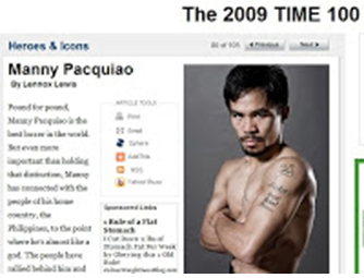 Manny Pacquiao was featured in Time 100 in 2009.