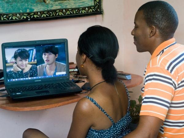 watching tv drama